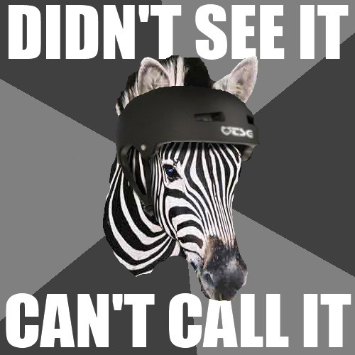 A reminder from your friendly NEIGHborhood (lulz) zebra: Two things a ref has to do in order to call a penalty. See the action: If you don't see the action, in its entirety (i.e. beginning, middle, end), you can't call it. Assess the impact: If you can't see the impact, you can't call it. If one of those two areas aren't seen, you can't call it. A ref does not have the ability to just make shit up.
