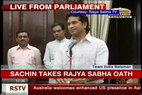 Indian cricketer Sachin Tendulkar taking oath as a Rajya Sabha member.
