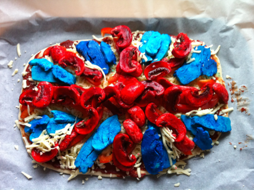 "youknowyourebritishwhen:  jubilee….pizza. we dyed chicken blue and mushrooms red… different.  Does anyone else just feel like they're looking at some kind of autopsy? ""Well, these are what's left of the intestines, kidney and stomach and, as you can see, they've been badly torn and shredded and, as for the lung, brain and muscular tissues, there appears to be some kind of extensive infection by a bacteria producing waste products of a vivid blue tone. We believe that this woman may have been killed by a particularly diseased wild animal, which would explain the state of the innards and the most likely posthumous tissue infection."""