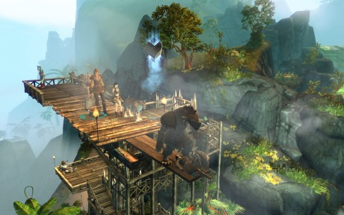Atop the diving board in Lion's Arch.