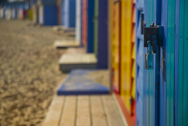 Beach sheds at Brighton Beach in Melbourne by Adam Cathro on Flickr.