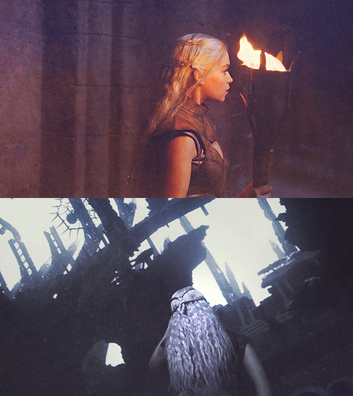 "swordofice:   ""Mother of dragons, child of storm… Three fires must you light; one for life and one for death and one to love. Three mounts must you ride; one to bed and one to dread and one to love. Three treasons will you know; once for blood and once for gold and once for love.""    #oh house of the undying scene #we could have had it all"