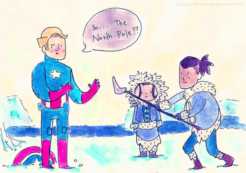 "benditlikekorra:  rufftoon:  wrong iceberg by *Lucky-phantom Steve wakes up after a long sleep in the ice to fight the Fire Nation. … I love this crossover idea!  This is wonderful.     ""And this is Katara, my American sister."""