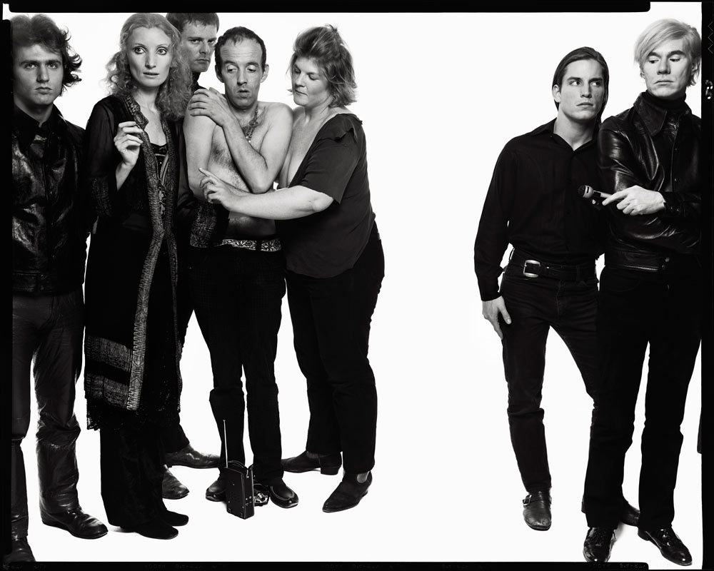 A is for Avedon. Photograph courtesy of the Gagosian Gallery. Andy Warhol and members of The Factory, New York, October 9, 1969. Photograph by Richard Avedon © The Richard Avedon Foundation.  Famed fashion photographer who turned his lens on Andy Warhol and the Factory's inner circle