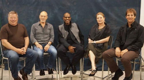 wittyflare:  All five Star Trek captains together.  In the same room.  Omg.
