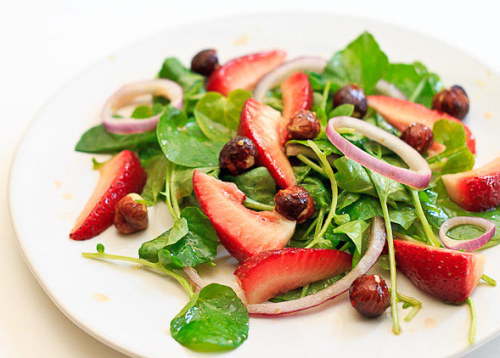 Watercress and Strawberry Salad with Red Onions and Hazelnuts- Wishful Chef