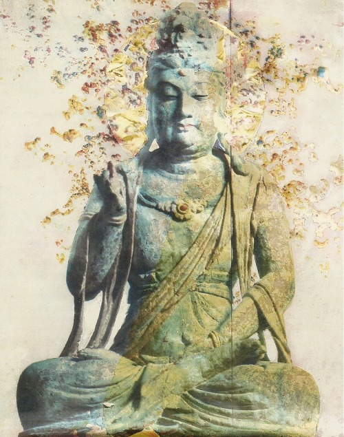 "buddhabe:  Guanyin, the Bodhisattva of Compassion Those suffering or in great need call on Guanyin, the Bodhisattva of Compassion, for help. ""Guanyin"" means ""listening to the cries of the world."" She sees all and answers all who call upon her, and she is therefore often depicted with many eyes and arms. Her peaceful expression is said to inspire calm. This contemporary image of Guanyin is based on a photo taken in the Asian Galleries of the Metropolitan Museum of Art in New York. The artists, Mike + Doug Starn, employed the use of a specialized camera and a unique carbon printing process to create the artwork. (tricycle.com)"