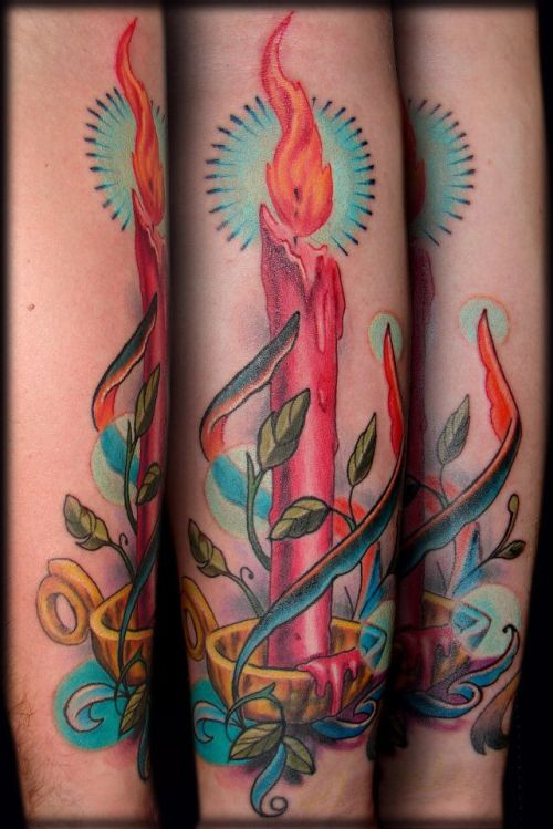 Amazing candlestick tattoo done by our permanent guest artist here at [Born This Way Body Arts - Knoxville, TN], Evan Lovett. His next visit to the shop will be July 10th-19th!