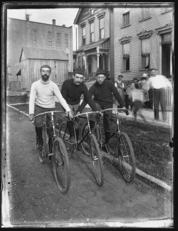 Three men on bicycles, c. 1895. Photographer unknown.  Want a copy of this photo?  > Visit our Rights and Reproductions Department and give them this number: ICHi-51015. Connect with the Museum