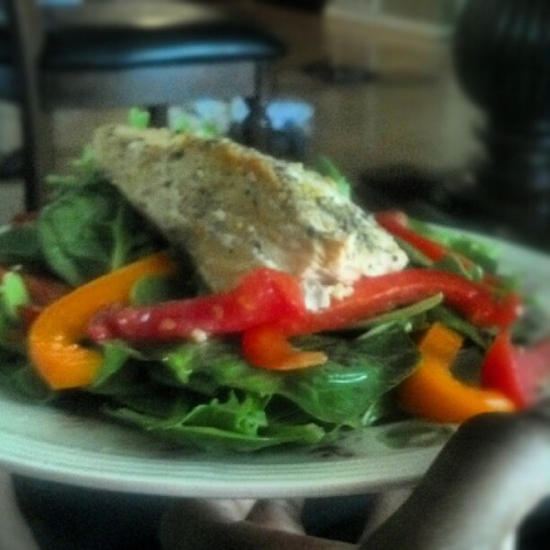 Day 2-JM Body Revolution (Lunch) Citrus Salmon Salad: Bake salmon (I used lemon pepper Mrs.Dash and garlic powder) and put over a bed of your favorite salad greens. For the citrus dressing, halve a lemon and lime mixed w/olive oil and a tsp of honey! #bodyrevolution #weightloss #pescetarian #eatclean #cleaneating #fitblog #healthy #health #instafood #lunch  (Taken with Instagram at www.lgifit.com)
