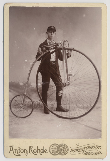 Ernst A. Erickson with a Columbia bicycle. He was a member of the Columbia Wheelmen Bicycle Club, c. 1890. Photograph by Anton Rohde.  Want a copy of this photo?  > Visit our Rights and Reproductions Department and give them this number: ICHi-51124. Connect with the Museum