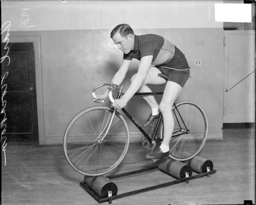 Racing cyclist Carl Stockholm at practice in Chicago, c.1929. Photograph from the Chicago Daily News.  Want a copy of this photo?  > Visit our Rights and Reproductions Department and give them this number: SDN-067857. Connect with the Museum