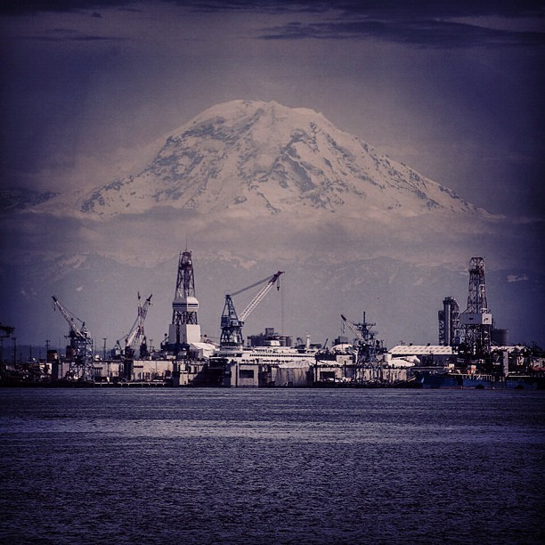 A rare view of Mount Rainier from Elliott Bay. #Mountain #Seattle #PNW