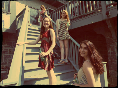 standin' on stairs. yes, we are that hip.