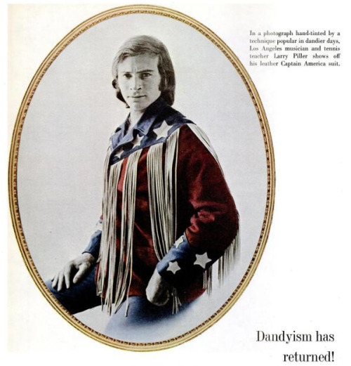 A groovy fashion look from LIFE magazine, September 1970. I bet the real Captain America is grateful that he wasn't defrosted in the 1970s, if only because getting alien slime stains out of those leather fringes would have been absolute murder…