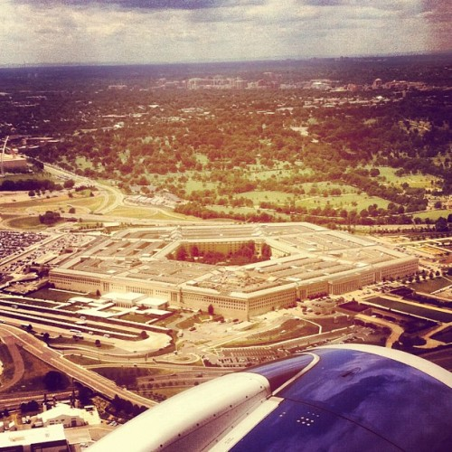 Flying over the Pentagon out of DCA. #WashingtonDC (Taken with instagram)
