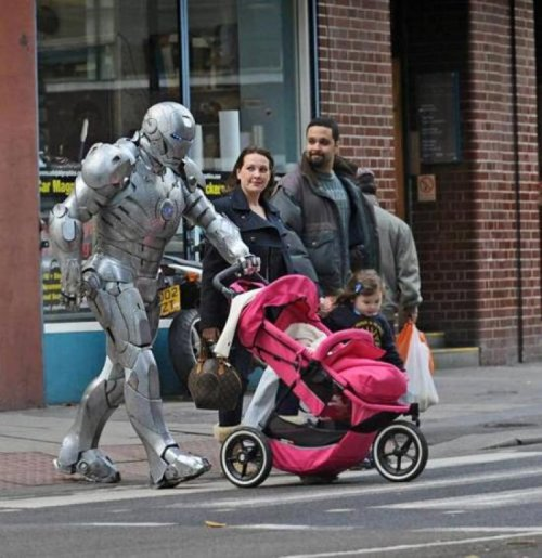 collegehumor:  Iron Man with a Stroller Iron nanny.