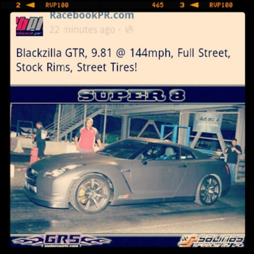 9.81 @ 144mph booom #gtr #pista #salinas #streetcar  (Taken with instagram)