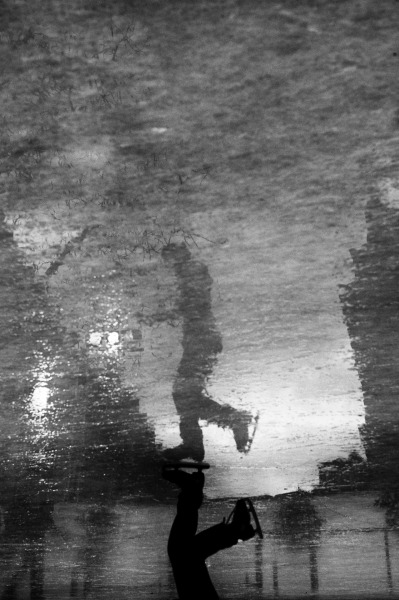 yodamanu:  The reflection of people skating, Strasbourg, 2012. #Leica M9, #Summilux M 50mm f1.4 asph., #Black and White, #Strasbourg