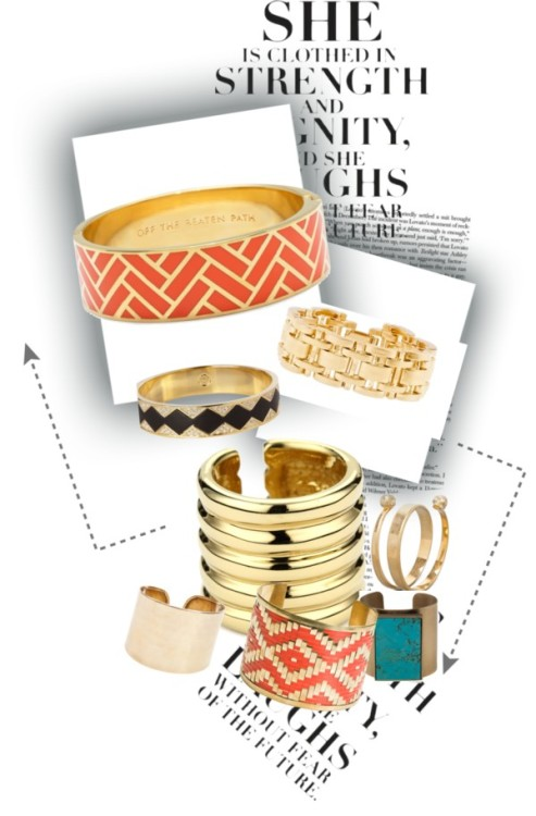 Aztec inspired bangles by coasting featuring gold banglesAlexander mcqueen jewelry, $495Giuseppe Zanotti gold jewelry, $425Kelly Wearstler cuff jewelry, $330Kate Spade engraved jewelry, $128House of Harlow 1960 gold bangle, £99J Crew pearl bangle, $78Zad cuff jewelry, $24Gold bangle, £12