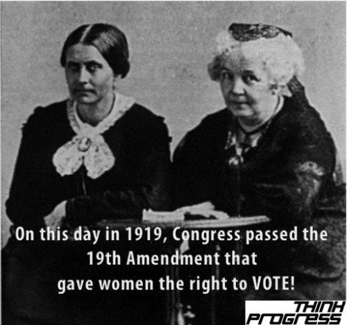 think-progress:  Women vote advocates Susan B. Anthony and Elizabeth Cady Stanton.  Thank you sister suffragettes