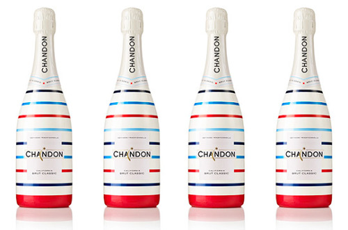 Chandon celebrates their American Heritage with a special edition summer bottle wrapped in a colorful array of red, white, and blue stripes. Proper for the 4th, the Chandon bottle is available now for purchase through the end of summer. A nice addition to your holidays. (via Chandon - Limited Edition - Striped Bottle | Selectism.com)