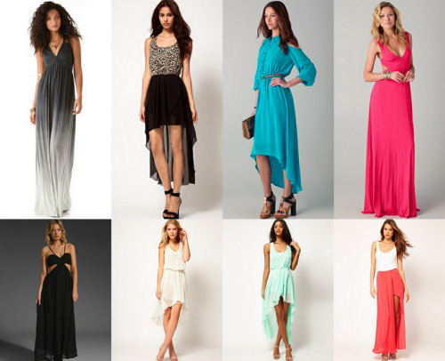 loveforfashion:  Maxi Dresses Wish List. :) Top from left to right: Young Fabulous & Broke ($207), John Zack ($69), One by ($126), Rachel Pally ($238). Bottom from left to right: Style Stalker ($199), LOVE 1 ($69), LOVE 2 ($83), ASOS ($78).