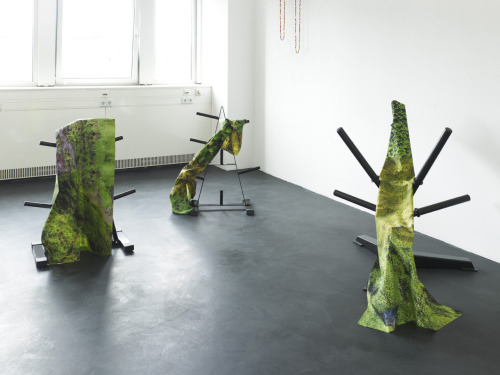 Katja Novitskova Apical Dominance 1, 2, 3 tree weights stands, digital collage on fabric Kraupa Tuscany, Berlin