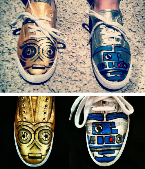 eatsleepdraw:  I used to paint shoes for some extra cash..I hadn't done it in a while so I painted these little droids. (Sorry about the wear on R2D2 I forgot to take a picture of it when I finished painting them)These are not the droids you are looking for.
