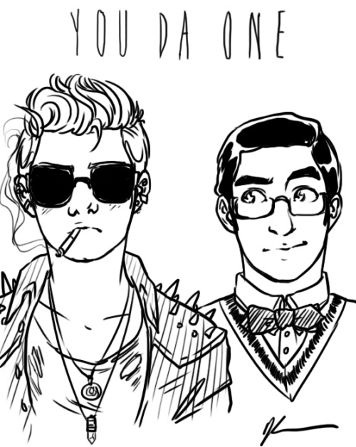 "inkystars:  kendrawcandraw:  More You Da One doodles because why not Kurt bby you try to be so tuff and it's just too cute not to mention Blaine being the MOST SMUG LOOK AT YOU  ""…"" ""…"" ""What?"" ""Nothing."" ""It's not nothing if you keep staring at me, Blaine."" ""Sunglasses, though? Really?"" ""They make me look cool."" ""You're inside."" ""Shut up!"" ""And where'd you get the necklaces from, a palm-reader?"" ""Blaine—"" ""And the hole in your shirt just looks like you burned it on a souffle you were taking out of the oven."" ""…"" ""Oh my god, seriously? Souffle, Kurt?"" ""I was in a mood, no thanks to you."" ""I do like the spikes, though. It's like you're an adorable porcupine."" ""Urgh, shouldn't you be cowering in fear of me or something?"" ""Get your head out of the 80s. It's a new millenium—where nerds are cool and get laid and the badboys are all VIRGINS—"" ""SHUT. UP."" ""Mmmhmmmfmmm."" ""AH! You licked me!"" ""Well you had your hand over my mouth. What else was I supposed to do?"" ""You're gross."" ""And you're cute. So, have you thought of my offer?"" ""In your dreams, Blaine."" ""Nope. In yours. Don' think I haven't seen the way you keep staring at me in chemistry."" ""You're high."" ""I don't smoke. I'm not you. And you keep staring at my ankles. Seriously, do you have a Victorian kink?"" ""Goodbye Blaine."" ""Think over my offer, Kurt! See you, Saturday!"" ""Not likely!"""