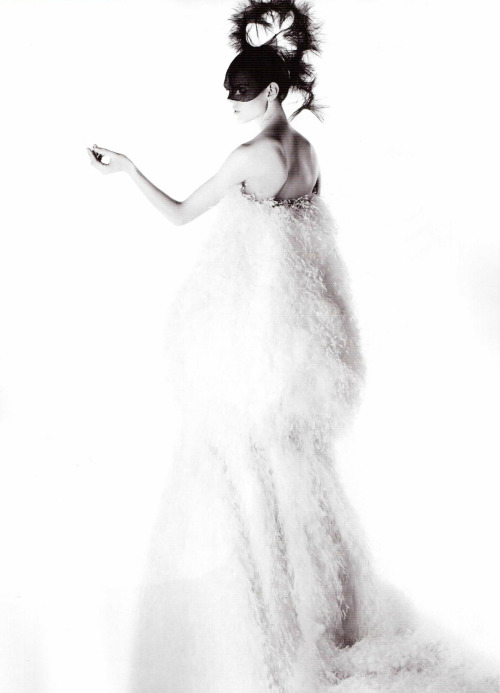 'Bal de la Couture', Freja Beha Erichsen by Karl Lagerfeld, Numéro #121 March 2011. Christian Dior Spring Summer 2011 Haute Couture: dress and headpiece