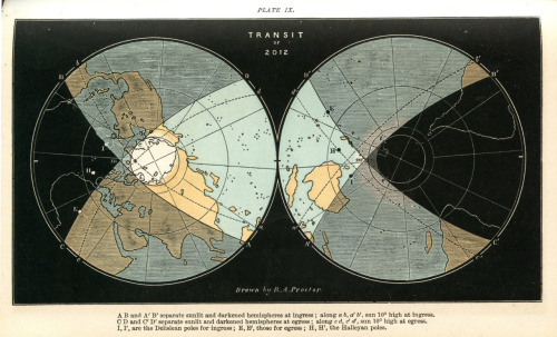 An 1882 map by Richard A Proctor showing the cones of visibility of the 2012 transit of Venus (which happens tomorrow). It's remarkable partly as it's so well designed, and partly as it's over a hundred years old but matches the modern map.