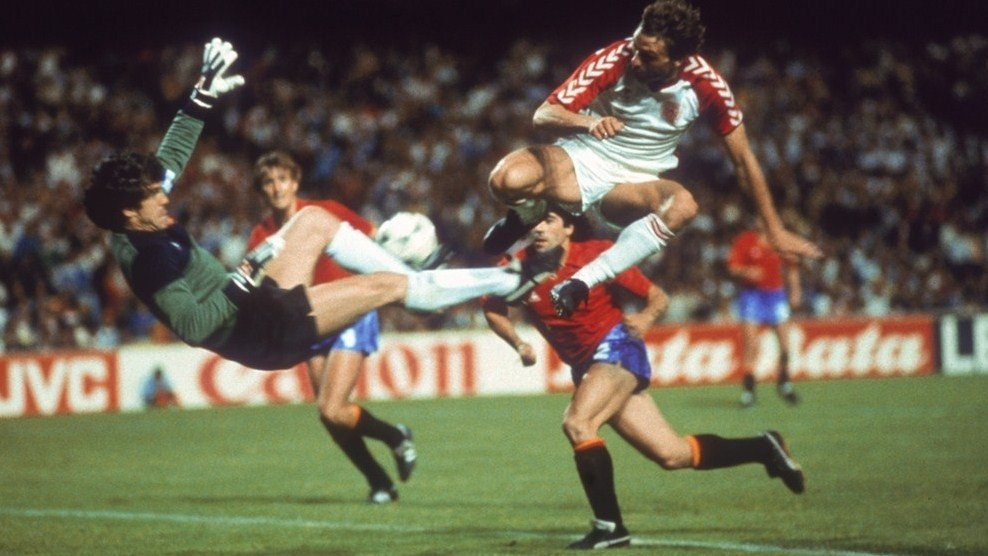 Denmark's Elkjaer Larsen has a shot spectacularly saved by Arconada during Euro '84 Semi-Final, June 24, 1984. Spain v Denmark (1-1 aet, 5-4 pen), Stade Gerland, Lyon. Source: UEFA