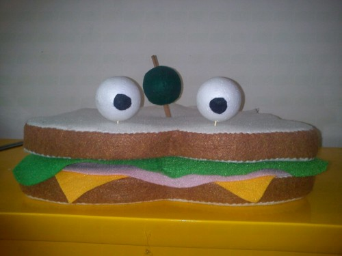 Basically finished sandwich puppet. Could use some tomatoes in the mouth and some finishing touches on the eyes.