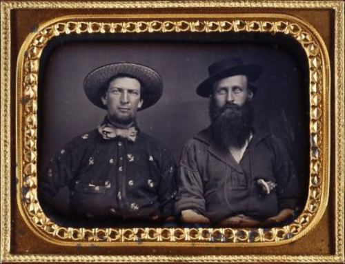 ca. 1853, [daguerreotype portrait of two gold miners, one in an anchor patterned shirt, one with a large beard] via the Oakland Museum of California