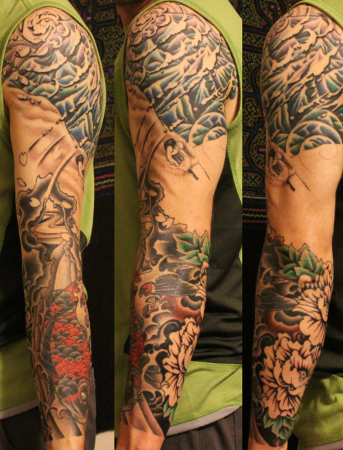 My mountain inspired sleeve. Work Dawn Purnell. Dawns Custom Tattoo, Santa Fe, NM.