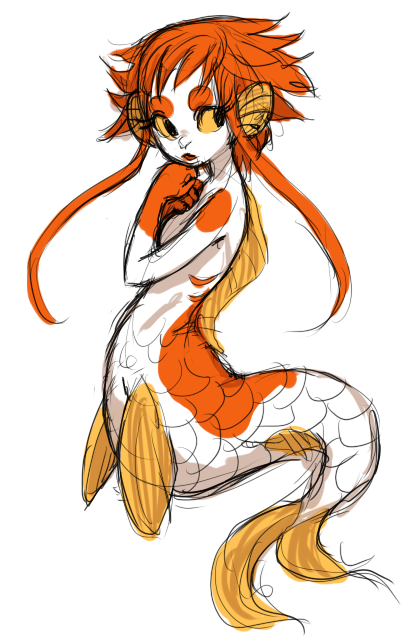stridehare:  kiwibutt:  This is a koi mermaid I designed to accompany this sweetie uvu  WOW I LOVE THIS A LOT NOBODY UNDERSTANDS HOW MUCH I LOVE INVENTIVE FISH PEOPLE ARGH