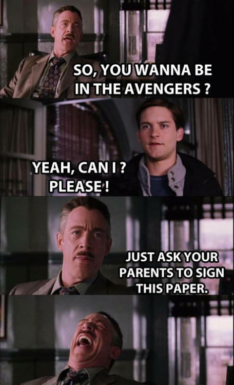 hulkruffalo:  toxiicreality:  Why Spiderman wasn't in the Avengers