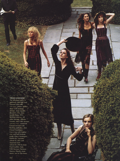 "editorialarchive:  ""A Gilded Age"". Karen Elson, Guinevere Van Seenus, Gisele Bündchen and Maggie Rizer photographed by Steven Meisel for US Vogue, September 1999"