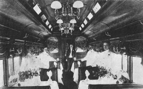 Dining car Queen on the Baltimore & Ohio Railroad Royal Blue train, in 1895.