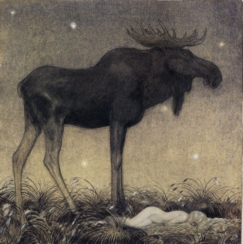 cavetocanvas:  John Bauer, Leap the Elk and the Little Princess Cottongrass