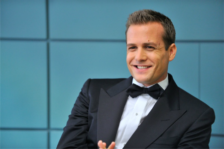"tattooedsiren:  Suits Set Visit: Gabriel Macht stuns in a tuxedo, talks season two And, um, I just show up at Mike's apartment, and I say, ""Get your tux on, we're going to Atlantic City. We got to chaperone this guy."""