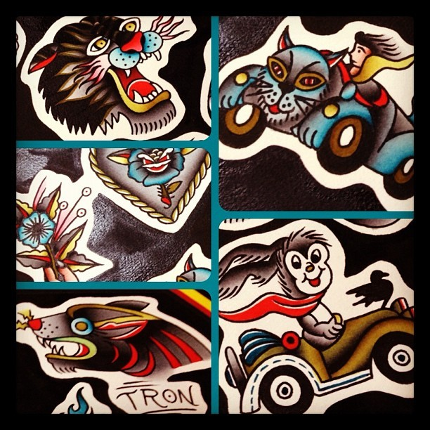 I'm dying to tattoo these fun designs soon! Please send me an email if you're interested! Losingshape@gmail.com  Thanks! Tron/ Thicker Than Water