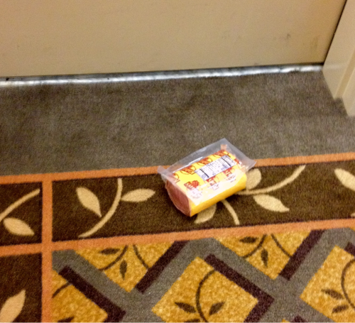 This package of liverwurst was trying to pass itself off as room service at my hotel. Time to upgrade hotels.