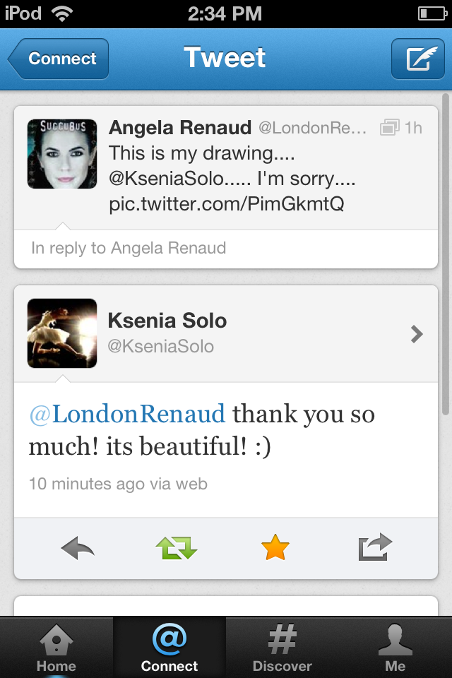 Ksenia Solo tweeted me and it made my F**kin life!