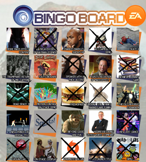 whoaitsjoe:  With EA and Ubisoft out of the way, here's the finished bingo board. No bingo again, but Sony and Nintendo still have a chance! EA's wasn't too impressive, really. I'm sure the games they showcased are fine to their target audience, but I wasn't into it. Meanwhile, I loved just about everything Ubisoft showed off. Can't wait for Rayman Legends and AC3, and I LOVED Watch_Dogs. VEO GAM