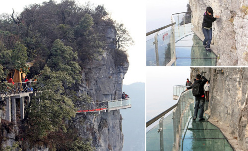 Glass Walkway at China's Tianmen Mountain Park.