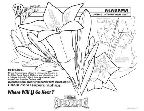 The U-Haul SuperGraphics June Coloring Contest has Launched! This month's contest features a rare flora found only in the glades of Bibb County, Alabama.