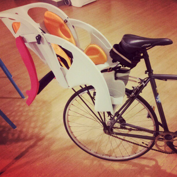 Upgrades (for toddlers) #biketoday #biking #babyseat (Taken with instagram)