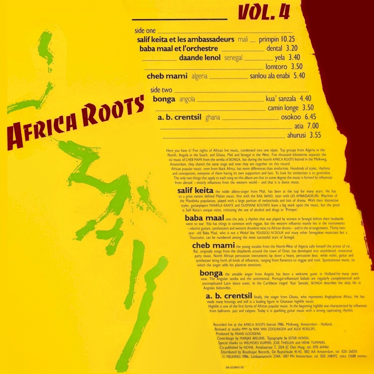 Summer time jams: Enjoy African Roots Volume 4. Featuring Senegal's Baaba Maal, Algeria's Cheb Mami, Angola's Bonga and A.B. Crentsil from Ghana. Click through to listen